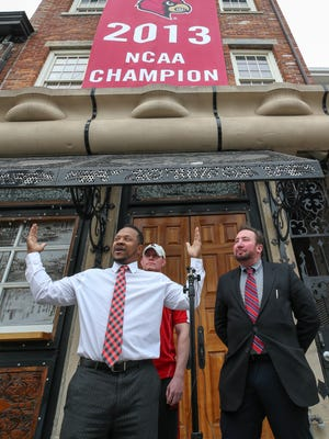 Anthony Cotton, Eric Richardson and Robert Florio represent UofL Protection and Advocacy Coalition who are suing the NCAA to restore Louisville's vacated victories and National Championship. April 6, 2018