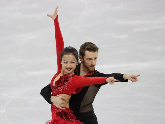 The hook that held together the costume of Novi-trained ice dancer Yura Min, who skated for South Korea in the team event, came undone early in Min's performance in the short program.