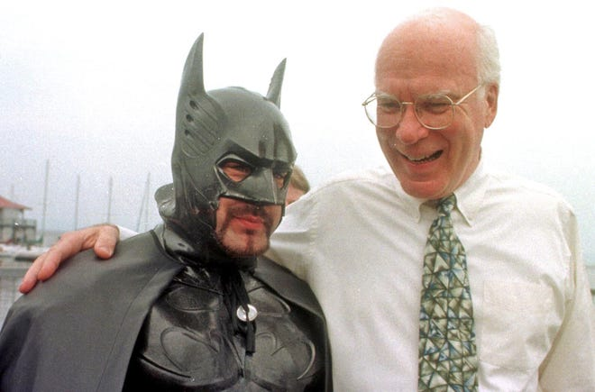 Sen. Patrick Leahy, D-Vt., pals around with a Burlington man dressed as Batman in 1998.