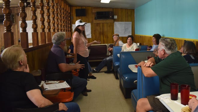 Madeline Hildebrant, running for the New Mexico Congressional District Two seat, met with Otero County residents Saturday afternoon in Tularosa.