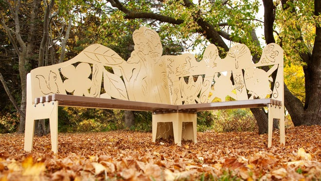 Six Junior Girl Scouts participated in nature programs and volunteered at Carpenter Nature Center in Hastings, Minn., to incorporate their experiences into the design of this metal bench, part of the Art Bench Trail in the St. Croix River Valley.
