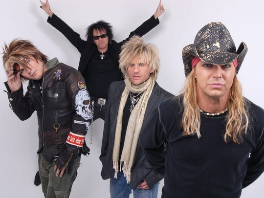 Poison.  From left: Rikki Rockett, Bobby Dall, C.C. DeVille and Bret Michaels.