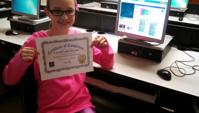 Seventh-grader Lauren Retzlaff earned a certificate for learning computer coding at Bessie Allen Middle School in North Fond du Lac..