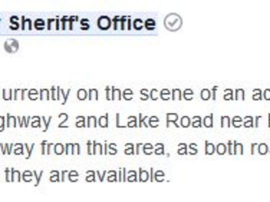 Taylor County Sheriff's Department posted this notice around 8:30 a.m. April 4, 2018.
