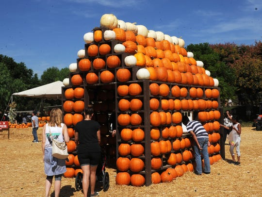 A pumpkin house is a draw at an earlier Fall Harvest Festival at Underwood Family Farms in Moorpark.