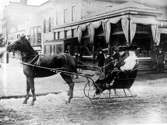 Sleighs were common sights on Detroit streets in winter. Just about anything that could have runners attached to it was used, from dog-pulled carts to posh four-horse carriages with stoves.
