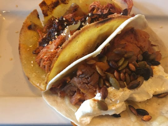 The Oaxacan Taco and Roasted Sweet Potato Taco from