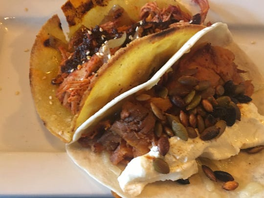 The Oaxacan Taco and Roasted Sweet Potato Taco from