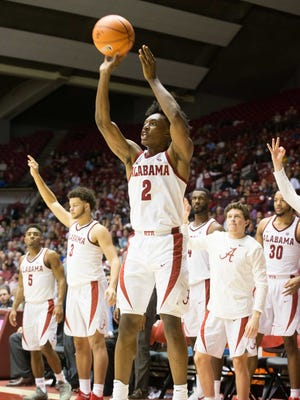 Nov 14, 2017; Tuscaloosa, AL, USA; Alabama Crimson Tide guard Collin Sexton (2) shoots against Lipscomb Bisons during the second half at Coleman Coliseum. Mandatory Credit: Marvin Gentry-USA TODAY Sports