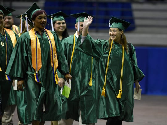 Pensacola State College students make their way into