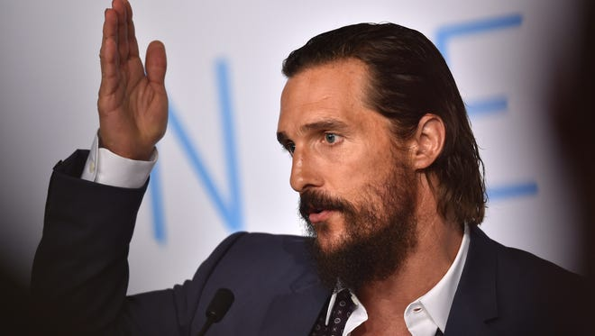 "Matthew McConaughey pontificates during a press conference for the film ""The Sea of Trees."""