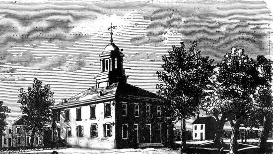 The old St. Landry Parish Courthouse that caught fire in 1886 is pictured in this drawing from the 1850s.