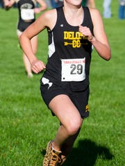 Delone Catholic's Kate Mowrey finishes first during last year's YAIAA cross country championship at John C. Rudy Park. (YORK DAILY RECORD/SUNDAY NEWS - PAUL KUEHNEL )