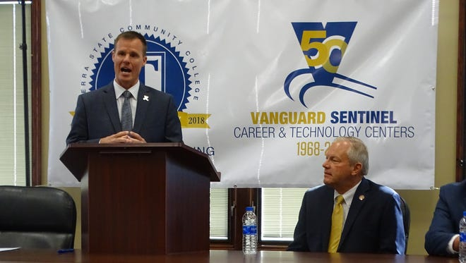Vanguard Sentinel Career Center Superintendent Greg Edinger announces partnership with Terra State Community College as State Rep. Bill Reineke looks on.