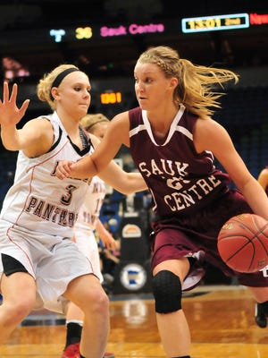 Kali Peschel handles the ball in the semifinals of the Class 2A state basketball tournament as a senior in 2012. The former Mainstreeters standout verbally committed to Iowa five years ago this week.
