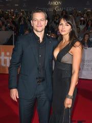 Matt Damon and his wife Luciana Barroso at 'The Martian's'