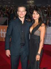 Matt Damon and his wife Luciana Barroso at 'The Martian's'
