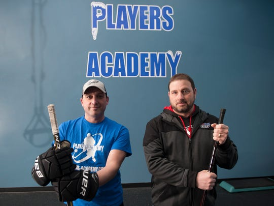 PJ Diana (left) and Larry Price are co-owners of Players Academy, along with Dan DiSanto, who is not pictured. It's an ice hockey training center housed in the Igloo ice rink in Mount Laurel. The facility has a dedicated synthetic ice section as well as a gym.