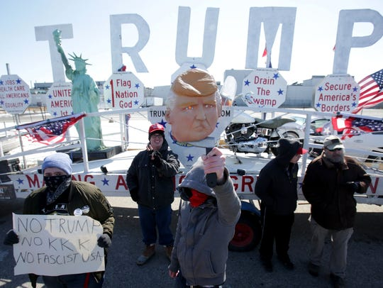 People protesting President Donald Trump's visit to