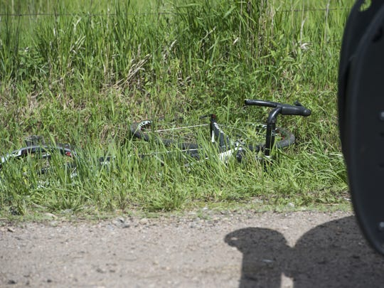 A cyclist was severely injured and later died after an accident involving an SUV and a truck pulling a trailer occurred about one quarter of a mile north of the intersection of E. Vine Drive and S. Lemay Avenue. Saturday, June 6, 2015.