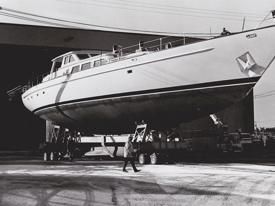 The 125-foot sailing yacht Galileo is rolled out of Palmer Johnson's construction facility in April 1989.
