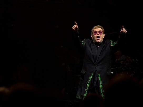 Elton John performs at the Ford Center in Evansville,