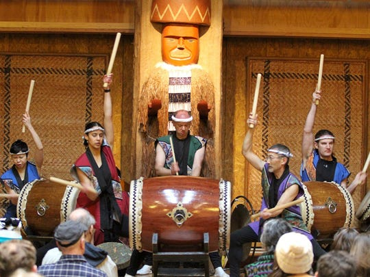 The Seattle Kokon Taiko drummers performed at the annual Bainbridge Island Mochi Tsuki celebration held Sunday at the Island Wood Center.