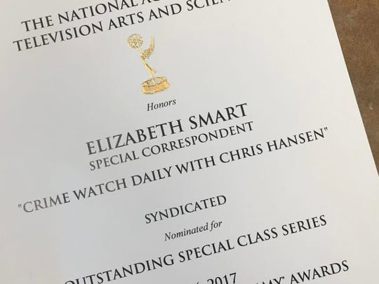 "Elizabeth Smart has been nominated for a Daytime Emmy Award for her work as a special correspondent for her work on the ""Crime Watch Daily with Chris Hansen."""