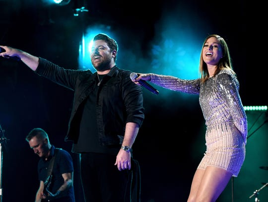 Chris Young brings out Cassadee Pope for a duet.