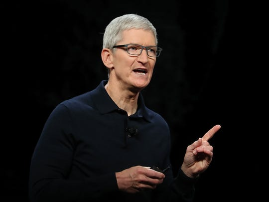Apple CEO Tim Cook speaks during the 2018 Apple Worldwide