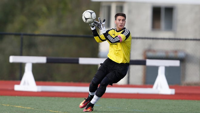 Somers' goalie Kenny Kurtz looks for a play during their win over Byram Hills in the class A semifinal at Byram Hills High School in North Castle on Wednesday, October 26, 2016.
