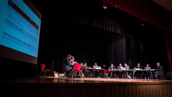 Representatives from the Muncie School Corporation and the Teacher's Association met for an IEERB hearing over the teacher contract, which addressed the district's budgetary issues, at Southside Middle School Thursday evening.