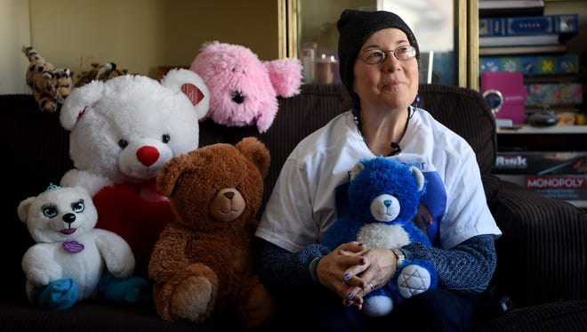 Rabbi Claire Ginsburg Goldstein, founder of Bears from Bergenfield, with stuffed animals bound for Israel. Goldstein aims to build bridges by distributing toys to Jewish, Muslim and Christian children.