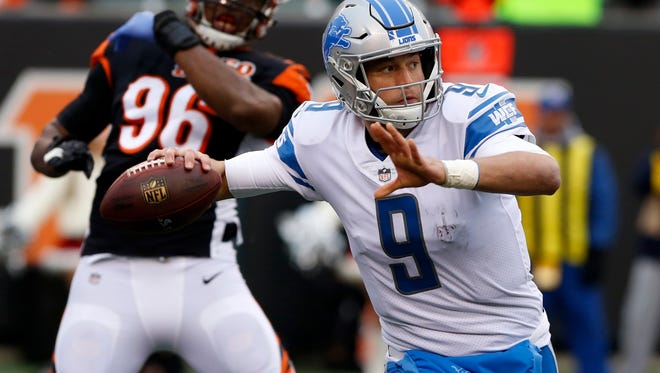 Matthew Stafford looks to pass against the Bengals last season.