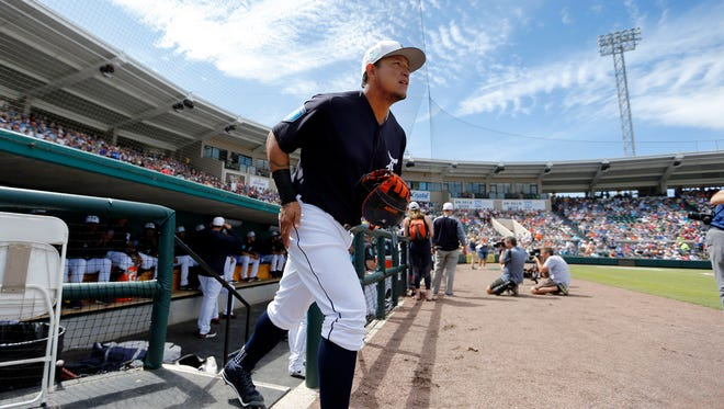 Mar 7, 2018; Lakeland, FL, USA; Detroit Tigers first baseman Miguel Cabrera runs out of the dugout for the first inning against the Toronto Blue Jays at Joker Marchant Stadium.