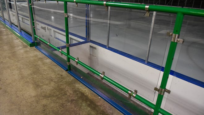 Railings with plexiglass installed between the pipes are pictured Tuesday, March 20, at the MAC in St. Cloud.
