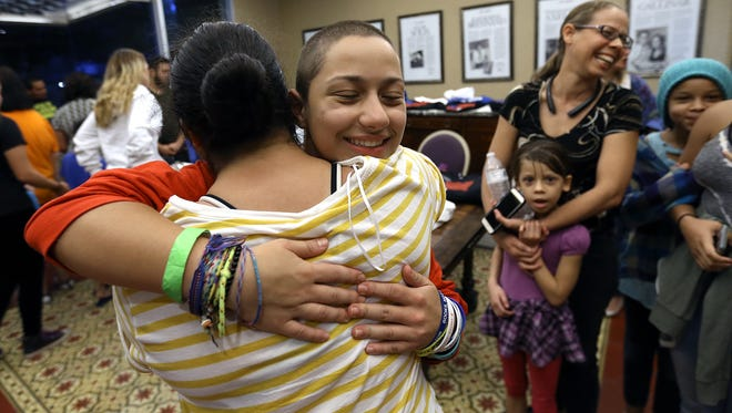 Emma Gonzalez, who became a gun control advocate after surviving the school shooting at Stoneman Douglass High School in Parkland, Florida, meets other teens in the lobby of the El Paso Community Foundation Tuesday as students spoke on a panel in an adjacent room. The March for Our Lives, Road to Change brought students from across the country and El Paso to discuss gun control.