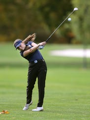 Mikah McDonnell of Webster Thomas hits from the 18th