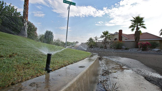 Water being wasted in a Palm Desert neighborhood would break new water rules from the Coachella Valley Water District forbidding outdoor watering that runs off onto sidewalks, roads and neighbors' property.