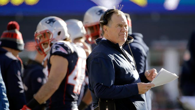 New England Patriots head coach Bill Belichick watches from the sideline during the first half of an NFL football game against the Los Angeles Rams, Sunday, Dec. 4, 2016, in Foxborough, Mass. (AP Photo/Elise Amendola)