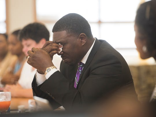 Shawn Joseph is overcome with emotion as members of his Prince George's County staff speak about his tenure. Joseph spent two years as deputy superintendent in Prince George's. He will officially start as the director of Metro Schools on Friday.