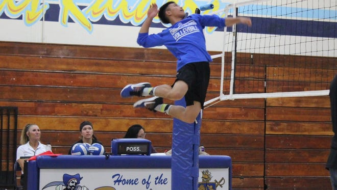 Joshua Carin may be only 5-foot-6, but he has soared to new heights as an outside hitter for the Channel Islands High boys volleyball team.