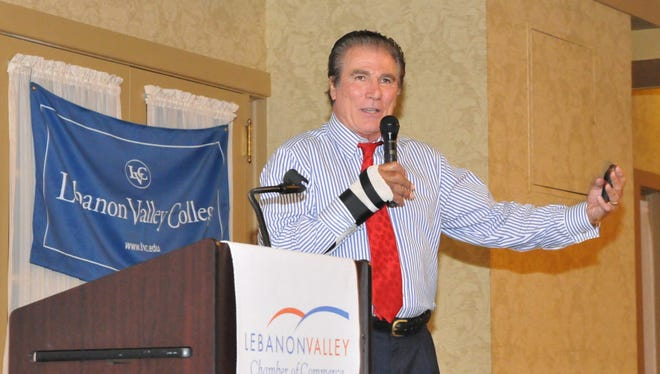 "Former Philadelphia Eagles wide receiver Vince Papale talks about his football career on Oct. 1, 2014, at the Lebanon Valley Chamber Foundation Scholarship Dinner at the Lebanon Country Club. Papale, whose story was told in the movie, ""Invincible,"" will speak at the Allen Theatre in Annville on Jan. 12 about his battle with cancer to help celebrate the opening of WellSpan Good Samaritan's new cancer center."