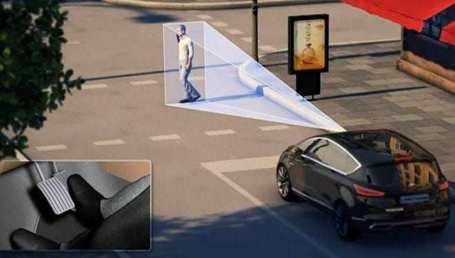 Ford's pedestrian detection system steers cars away from collisions