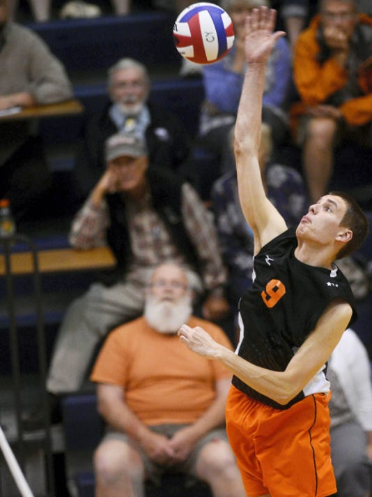 Central York's Jason Gardner hits against Penn Manor during the District 3 Class AAA boys' volleyball championship game Friday, May 22 at Dallastown Area High School. The Panthers will travel to Altoona on Saturday for a PIAA quarterfinal against Seneca Valley.