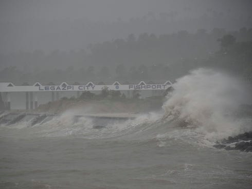 Huge waves brought about by the powerful Typhoon Haiyan hit the shoreline in Legazpi city, Albay province, on Nov. 8, 2013, about 325 miles south of Manila, Philippines.