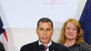 Governor David Paterson welcomes Carol Fitzgerald and her company Life Medical Technologies to the area during a press conference at the Hudson Valley Research Park in East Fishkill on September 28, 2010.