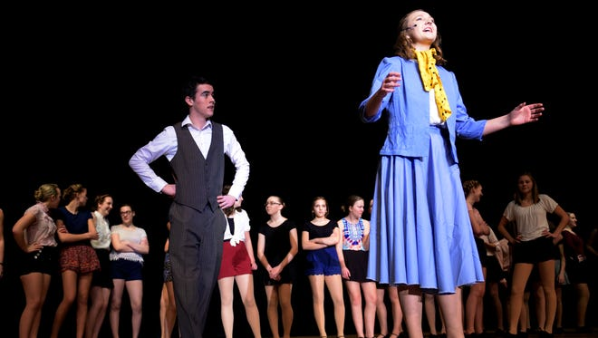 """Cara Forfinski (right) as Peggy Sawyer and Kennedy Taylor as Billy Lawlor, rehearse a scene from """"42nd Street."""""""