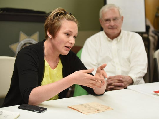 Kathryn Cellerini Moore of the Salem Art Association speaks at a community opportunities panel on April 2 at the De Muniz Resource Center in Salem. She discussed educational and prosocial opportunities that are available to Marion County inmates upon their release.