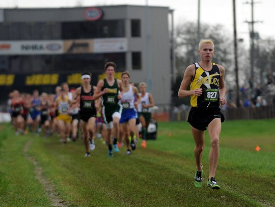 Colonel Crawford's Chad Johnson runs in the state cross